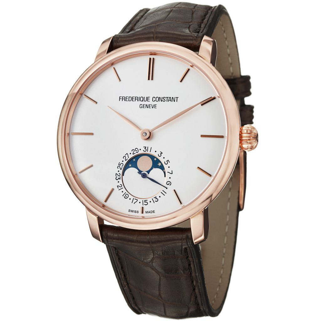 625-693 - Frederique Constant Men's Slim Line Moon Phase Automatic Alligator Strap Watch