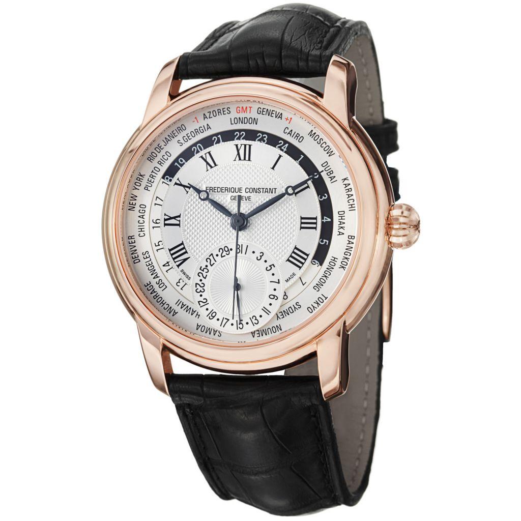625-694 - Frederique Constant 42mm Worldtimer Automatic Alligator Strap Watch