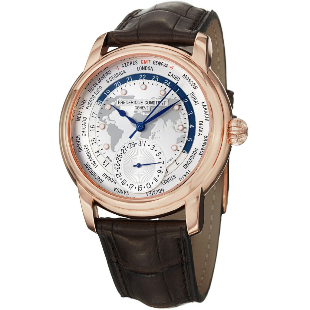 625-695 - Frederique Constant Men's Worldtimer Automatic Alligator Strap Watch