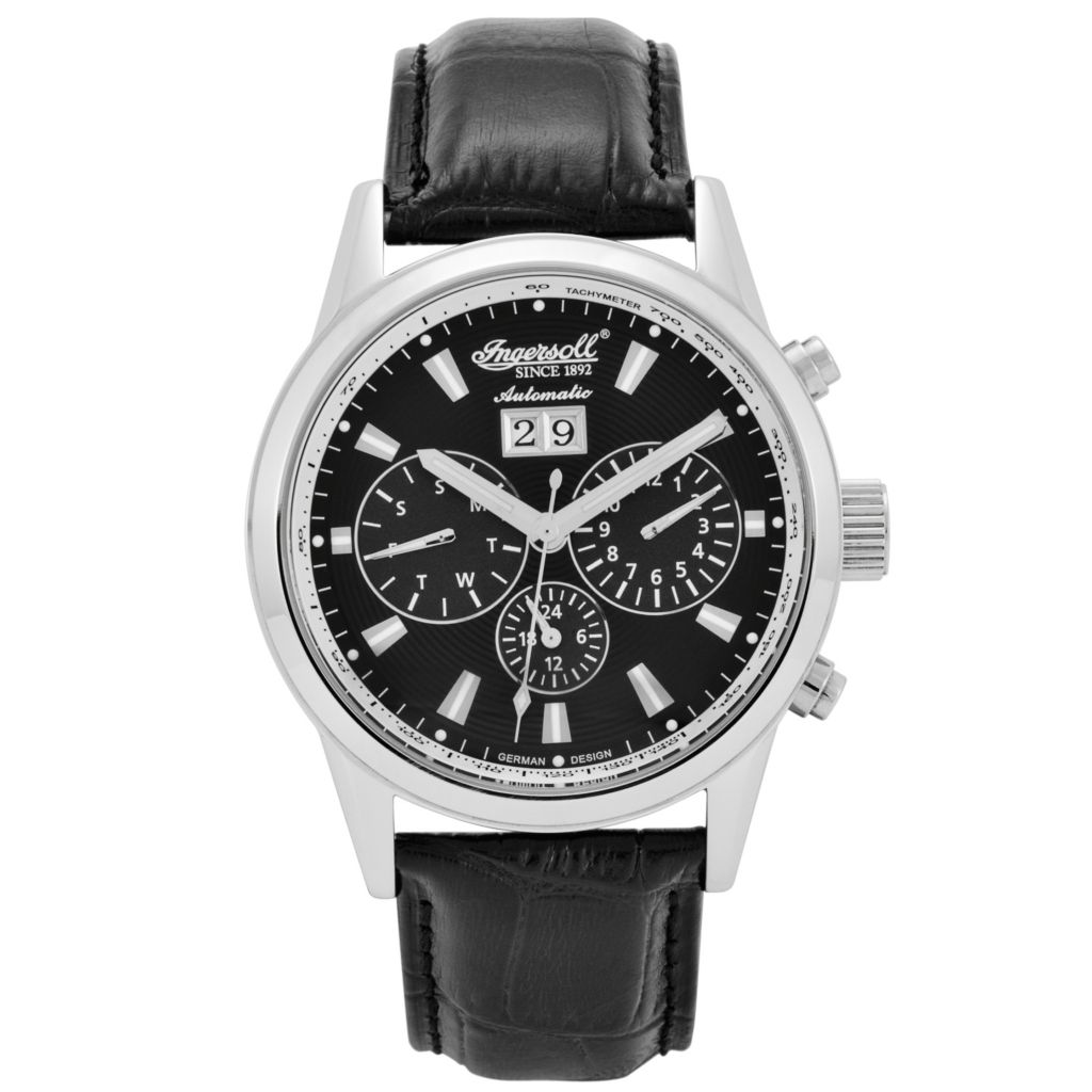 625-697 - Ingersoll 46mm Gatsby Automatic Multi Function Leather Strap Watch