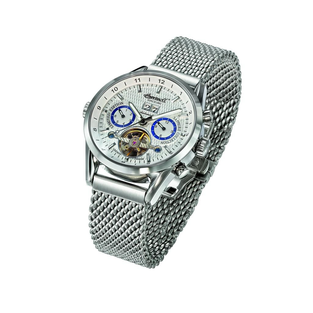 625-700 - Ingersoll 44mm Bradenburger Gate Automatic Multi Function Stainless Steel Mesh Bracelet Watch