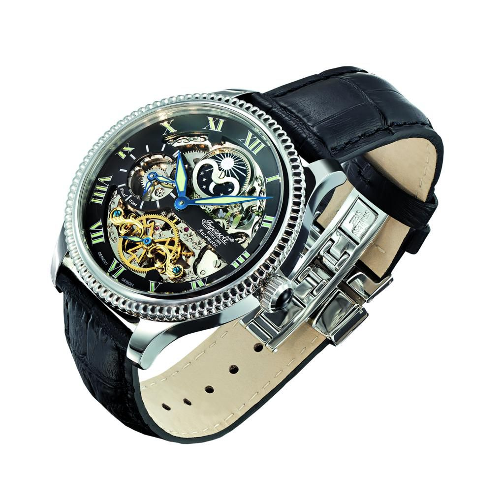625-706 - Ingersoll 47mm Ulzana Automatic Day & Night Indicator Dual Time Leather Strap Watch