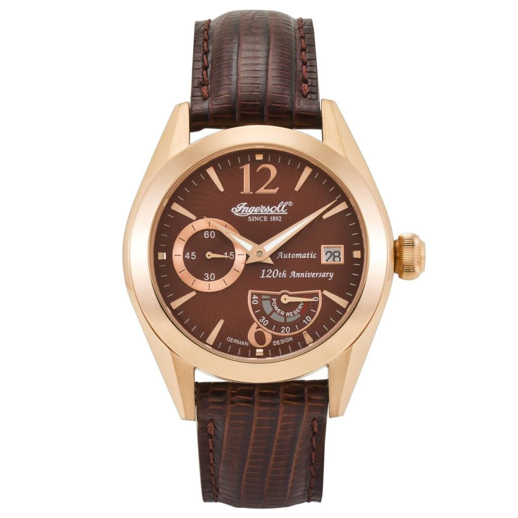 625-714 - Ingersoll 45mm Yosemeti Automatic Date & Power Reserve Leather Strap Watch