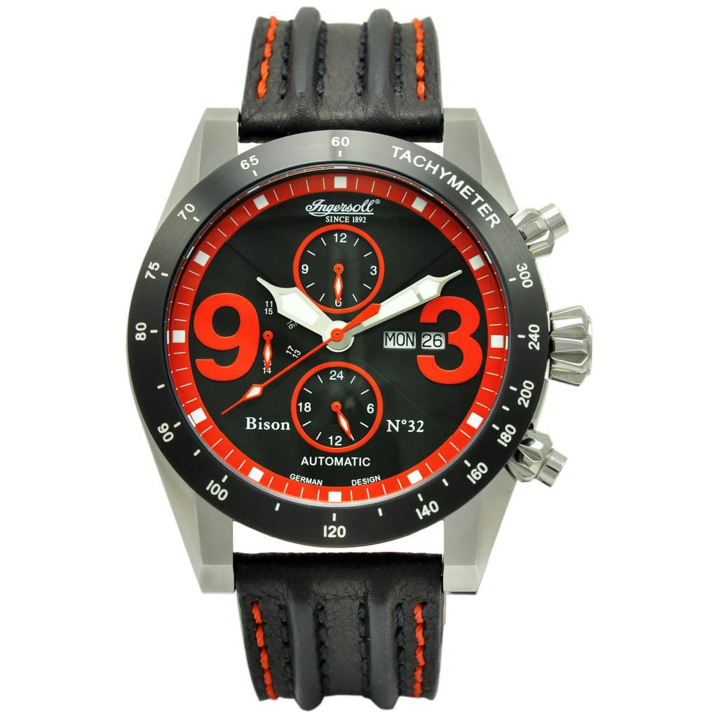 625-715 - Ingersoll 49mm Bison No. 32 Automatic Multi Function Polyurethane Rubber Strap Watch