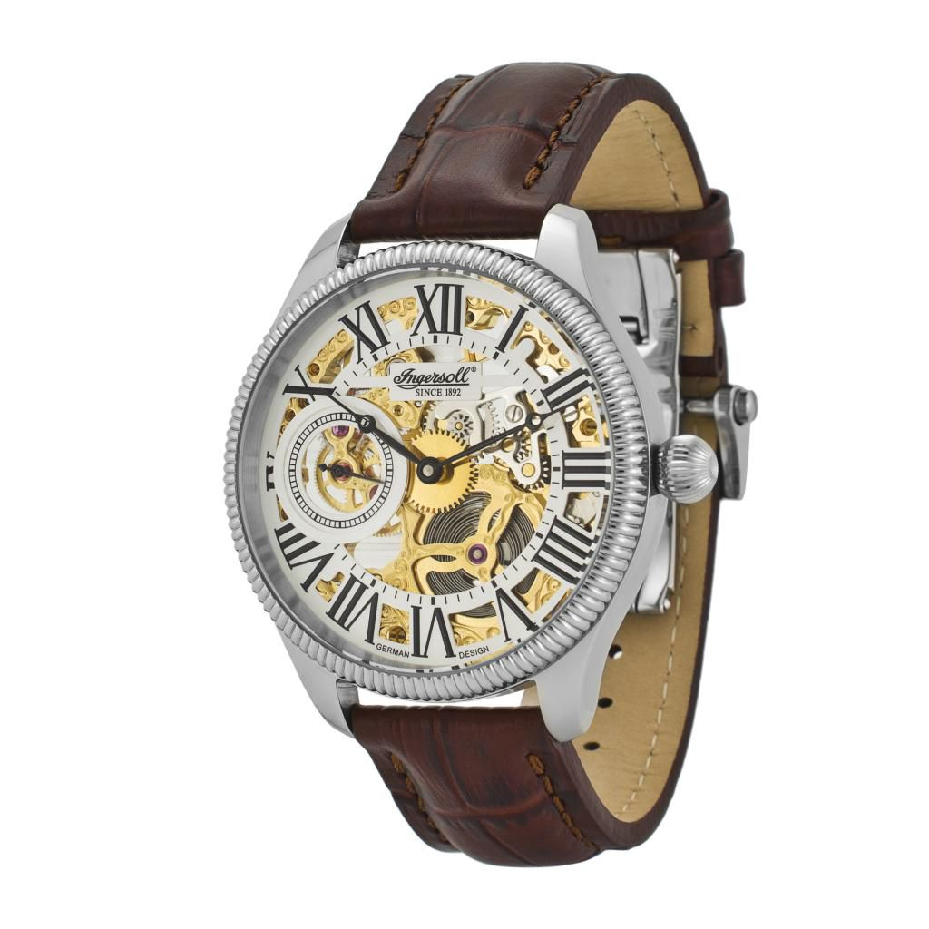 625-720 - Ingersoll Men's Arizona II Skeletonized Mechanical Leather Strap Watch
