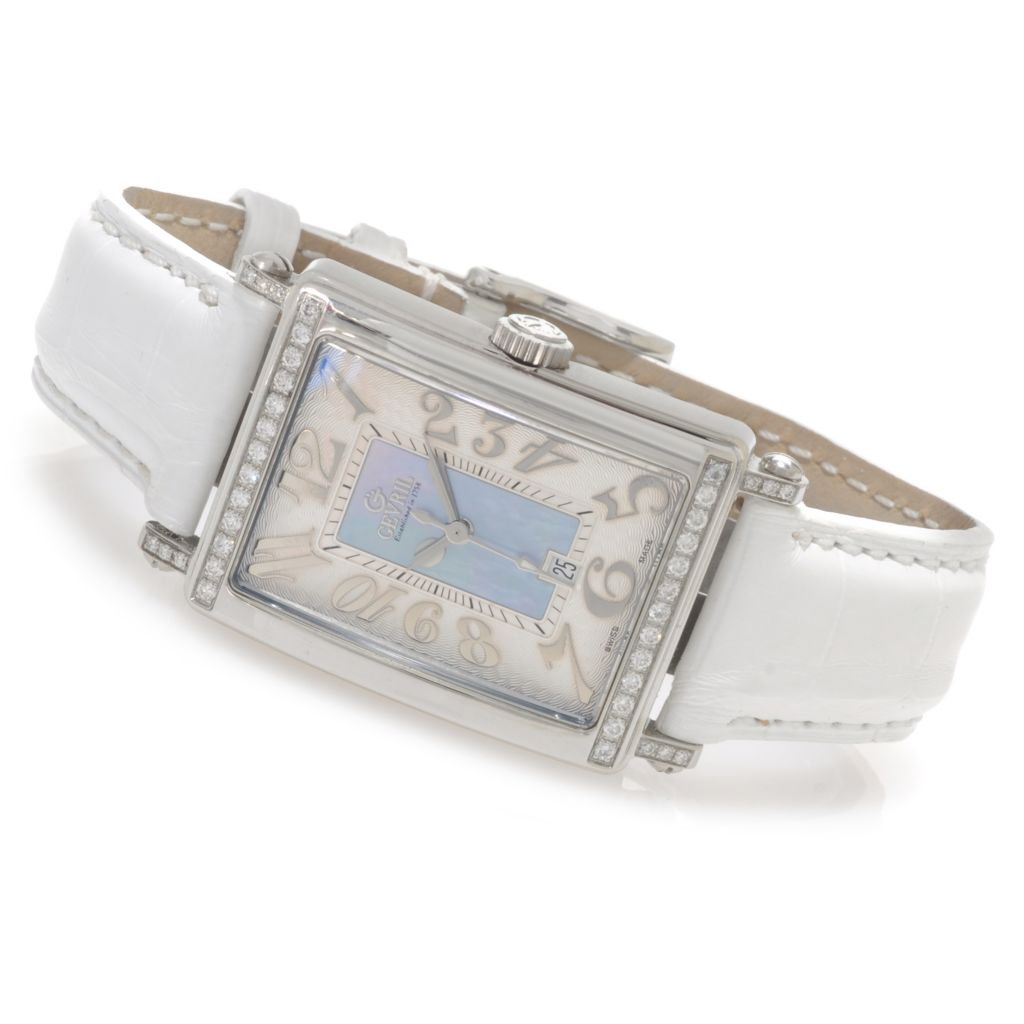 625-762 - Gevril Women's Avenue of Americas Mini Limited Edition Swiss Made Quartz Leather Strap Watch