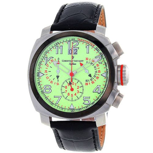 625-767 - Christian Van Sant Men's Grand Python Quartz Chronograph Leather Strap Watch