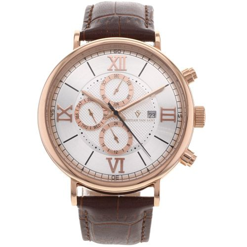 625-775 - Christian Van Sant Men's Somptueuse Automatic Multifunction Leather Strap Watch