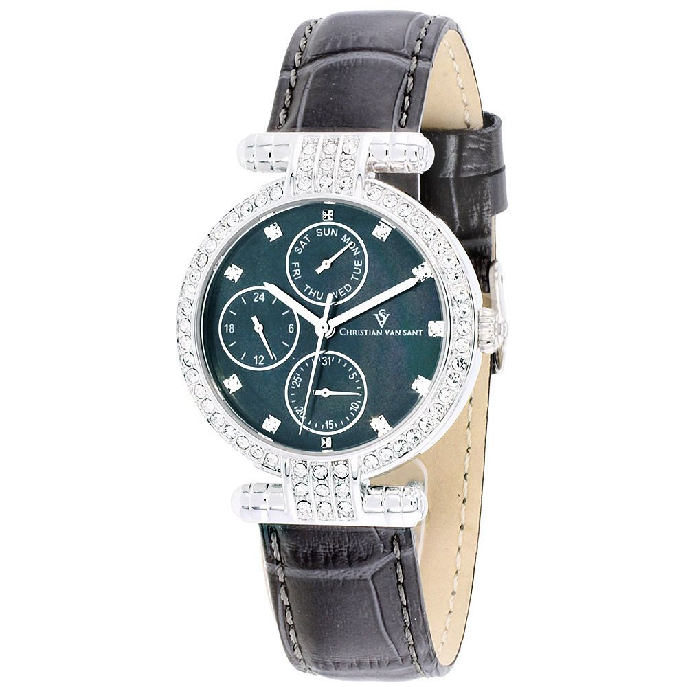 625-776 - Christian Van Sant Women's Night Life Mother-of-Pearl Dial Crystal Accented Leather Strap Watch