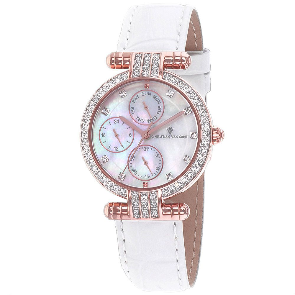 625-777 - Christian Van Sant Women's Night Life Mother-of-Pearl Dial Crystal Accented Leather Strap Watch