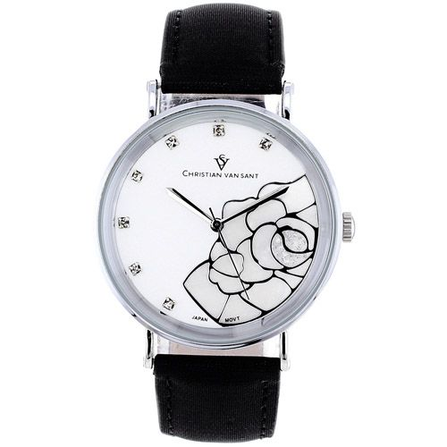 625-778 - Christian Van Sant Women's Fluer Quartz Mother-of-Pearl Dial Leather Strap Watch