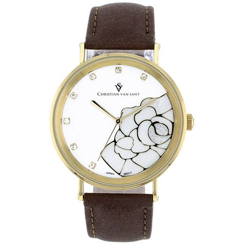 625-779 - Christian Van Sant Women's Fluer Quartz Mother-of-Pearl Dial Leather Strap Watch