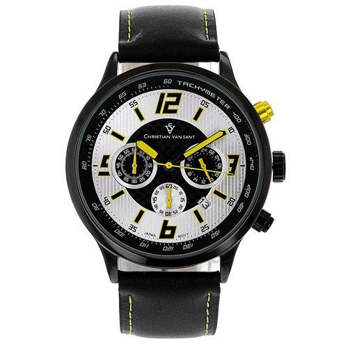 625-781 - Christian Van Sant 45mm Speedway Quartz Chronograph Leather Strap Watch