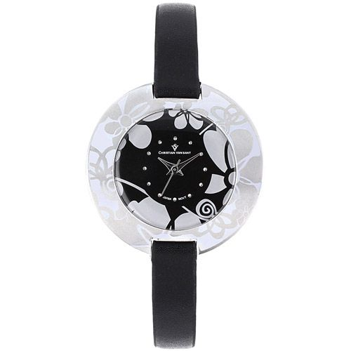 625-783 - Christian Van Sant Women's Candy Quartz Leather Strap Watch