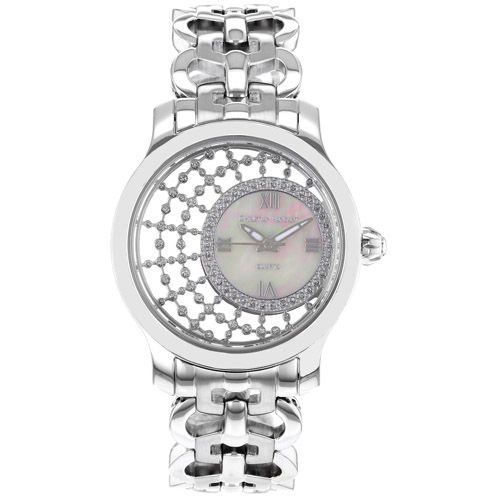 625-785 - Christian Van Sant Women's Delicate Mother-of-Pearl Crystal Accented Dial Silver-tone Bracelet Watch