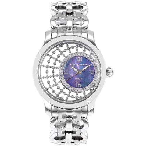 625-786 - Christian Van Sant Women's Delicate Mother-of-Pearl & Crystal Accented Dial Bracelet Watch