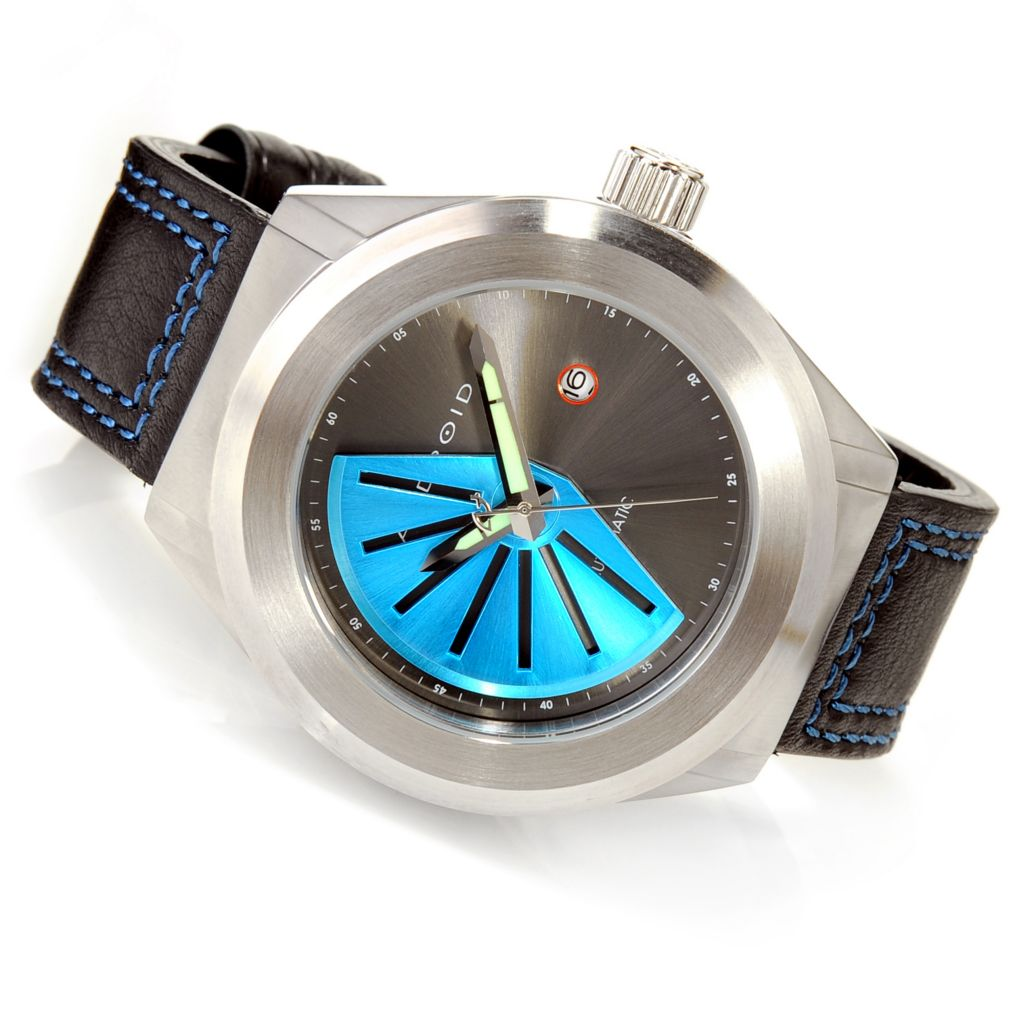 625-794 - Android Rotator 50 Automatic Deep Dish Dial Leather Strap Watch