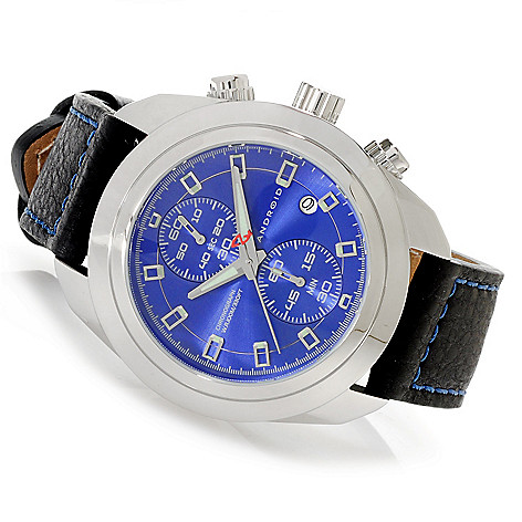 625-796 - Android 46mm Impetus Two-Eye Vertical Quartz Chronograph Leather Strap Watch