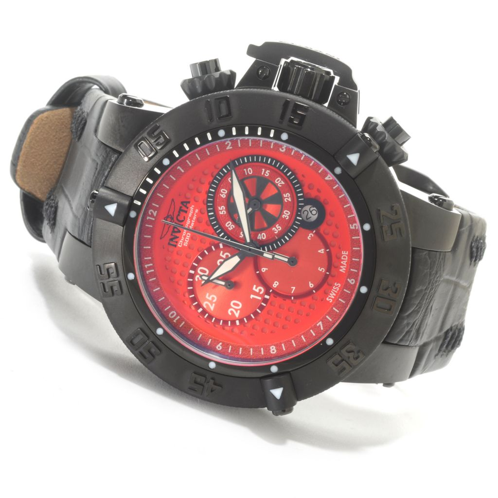 625-844 - Invicta 50mm Subaqua Noma III Swiss Made Quartz Chronograph Leather Strap Watch