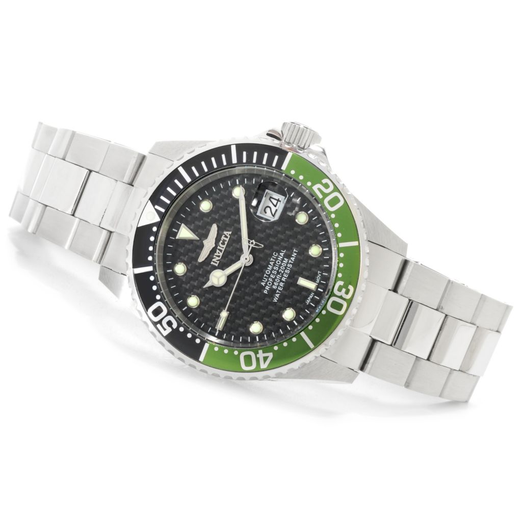 625-847 - Invicta 43mm Pro Diver Ocean Racer 1.0 Automatic Carbon Fiber Dial Watch w/ Eight-Slot Dive Case