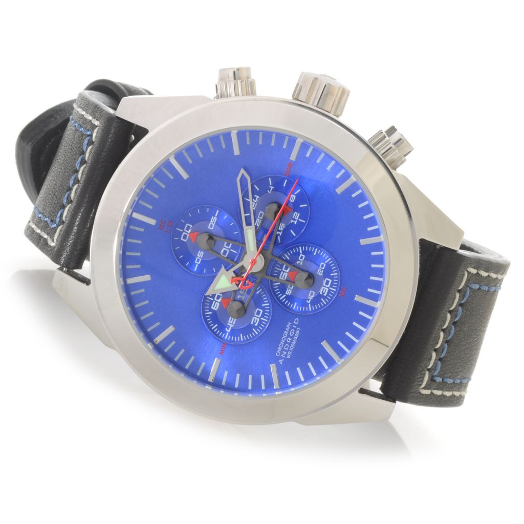 625-867 - Android 40mm or 48mm Satelgraph Quartz Chronograph Deep Dish Dial Leather Strap Watch