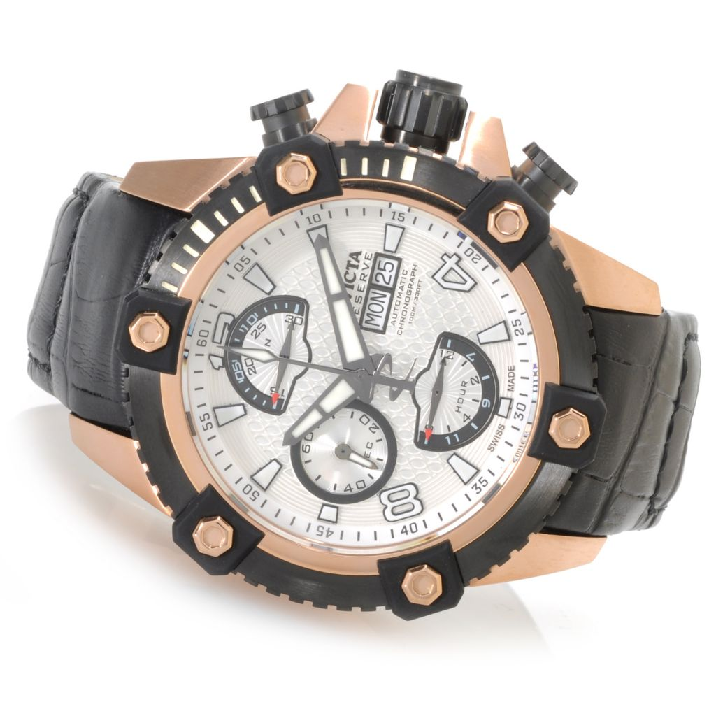 625-895 - Invicta Reserve 48mm Arsenal Valjoux 7750 Leather Strap Watch w/ One-Slot Dive Case