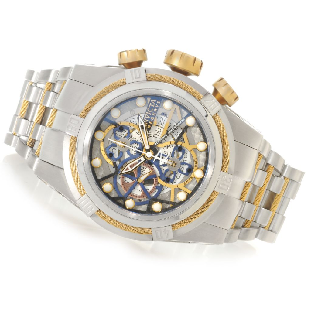 625-928 - Invicta Reserve 52mm Bolt Zeus Swiss Automatic SW500 Chronograph Skeletonized Dial Bracelet Watch
