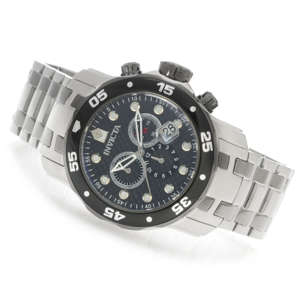 625-929 - Invicta 48mm Pro Diver Scuba Quartz Chronograph Carbon Fiber Dial Bracelet Watch