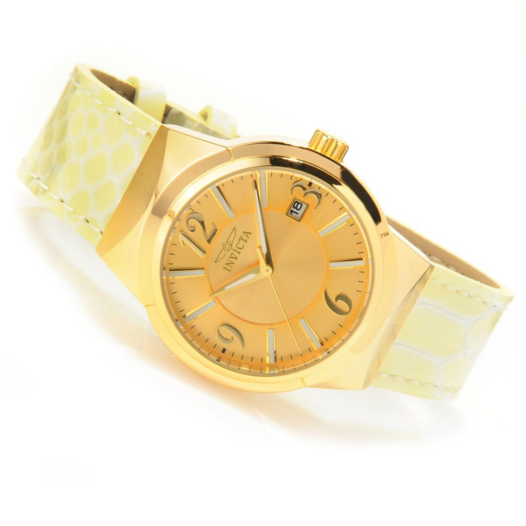 625-937 - Invicta Women's Angel Quartz Stainless Steel Case Leather Strap Watch