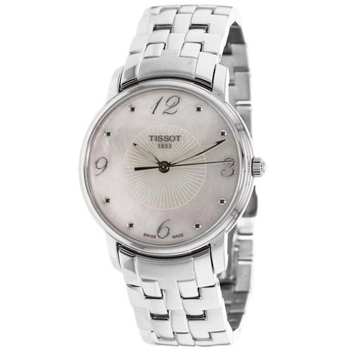 625-959 - Tissot Women's Round Swiss Quartz Mother-of-Pearl Dial Stainless Steel Bracelet Watch
