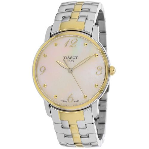 625-961 - Tissot Women's Round Swiss Quartz Mother-of-Pearl Dial Stainless Steel Bracelet Watch