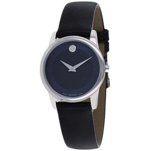 625-965 - Movado 28mm Museum Swiss Quartz Blue Dial Leather Strap Watch