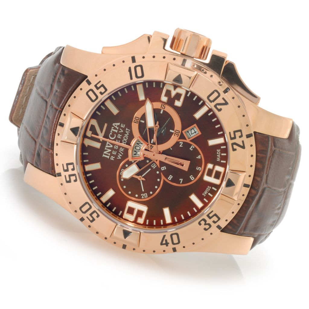 625-975 - Invicta Reserve 50mm Excursion Elegant Swiss Quartz Chronograph Leather Strap Watch
