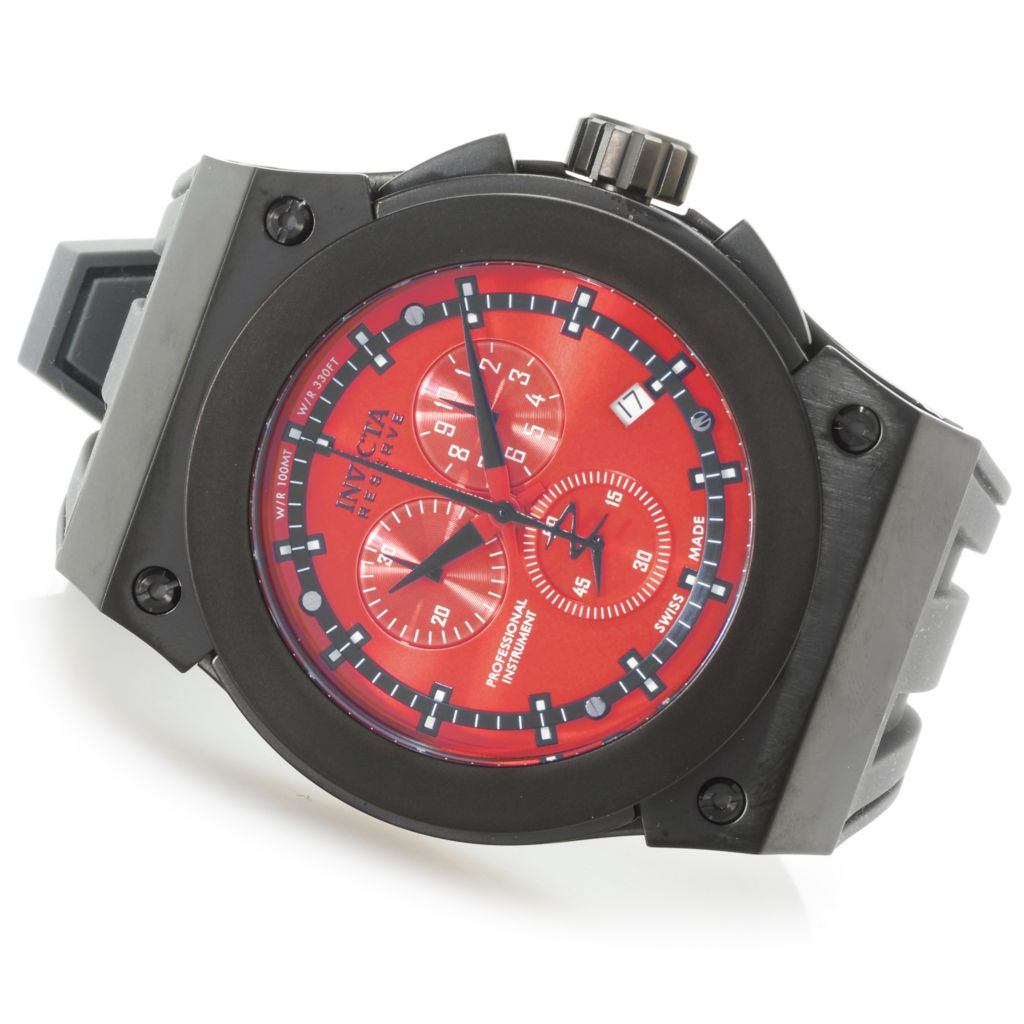 625-981 - Invicta Reserve 52mm Akula Swiss Made Quartz Chronograph Silicone Strap Watch
