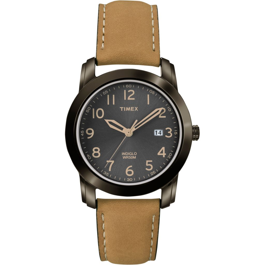625-987 - Timex 39mm Quartz Date Dress Leather Strap Watch