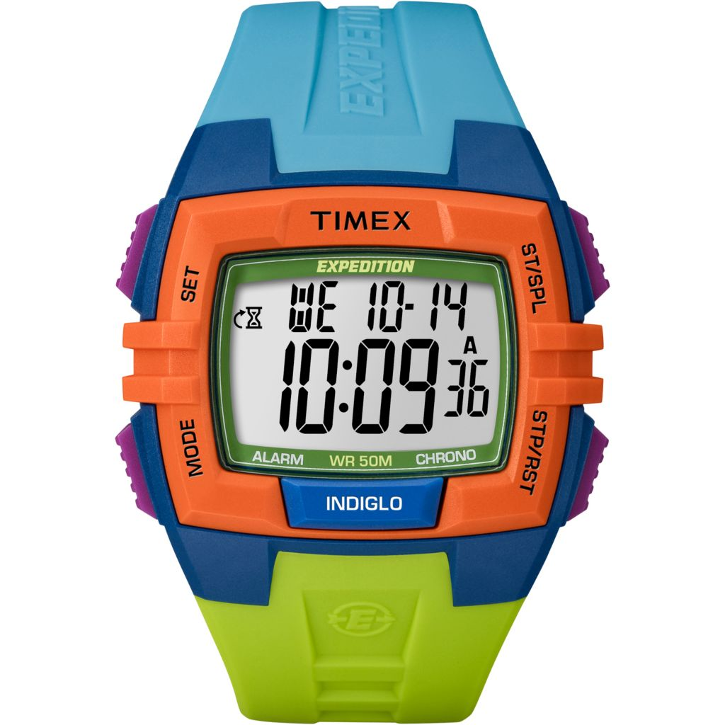 625-989 - Timex 45mm Expedition Digital Quartz Alarm Timer Colorblock Resin Strap Watch