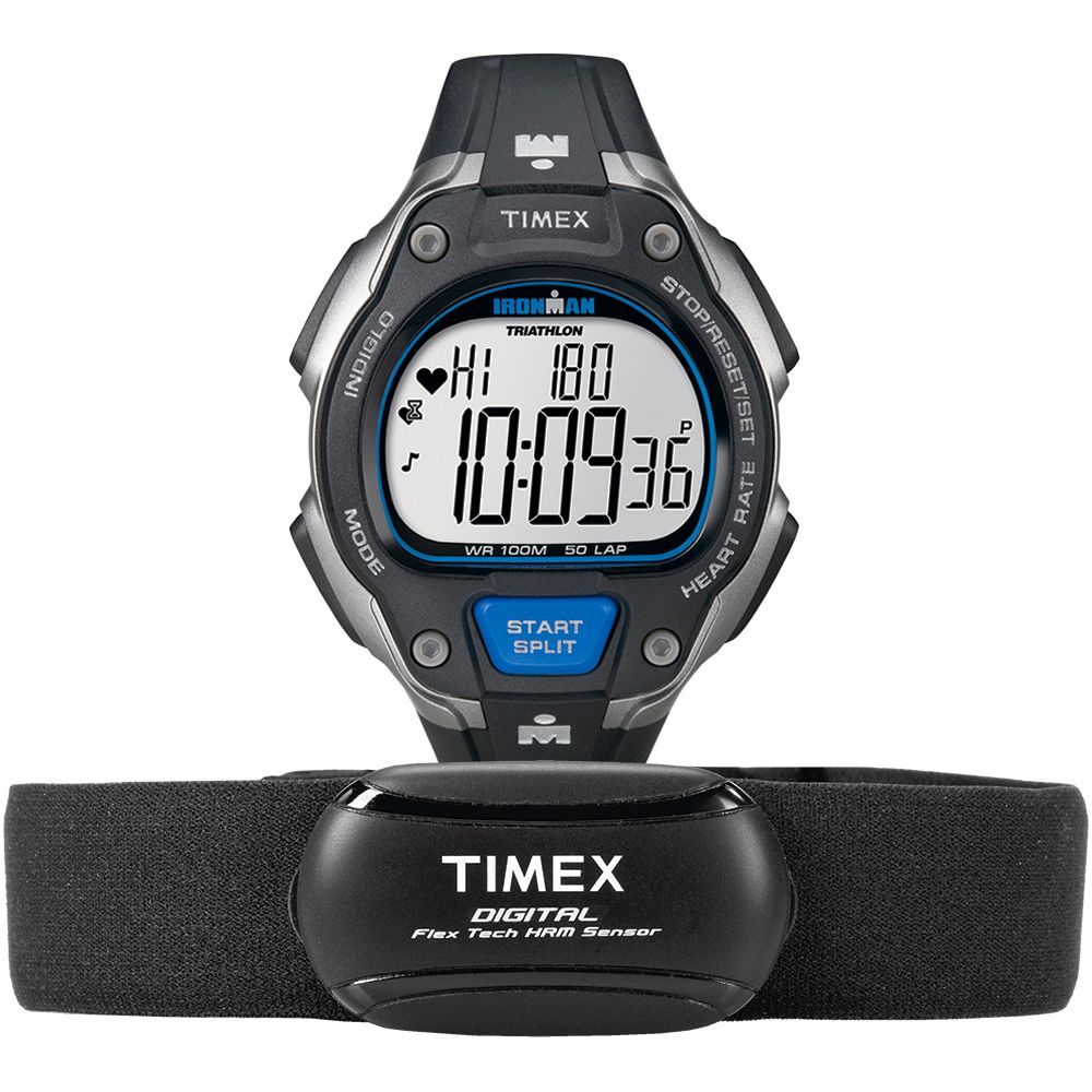 625-993 - Timex 44mm Ironman Road Trainer Heart Rate Resin Strap Watch