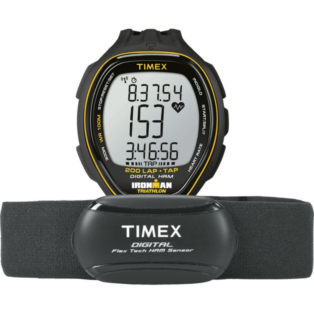 625-995 - Timex 39mm Ironman Target Trainer Heart Rate Tap Screen Resin Strap Watch