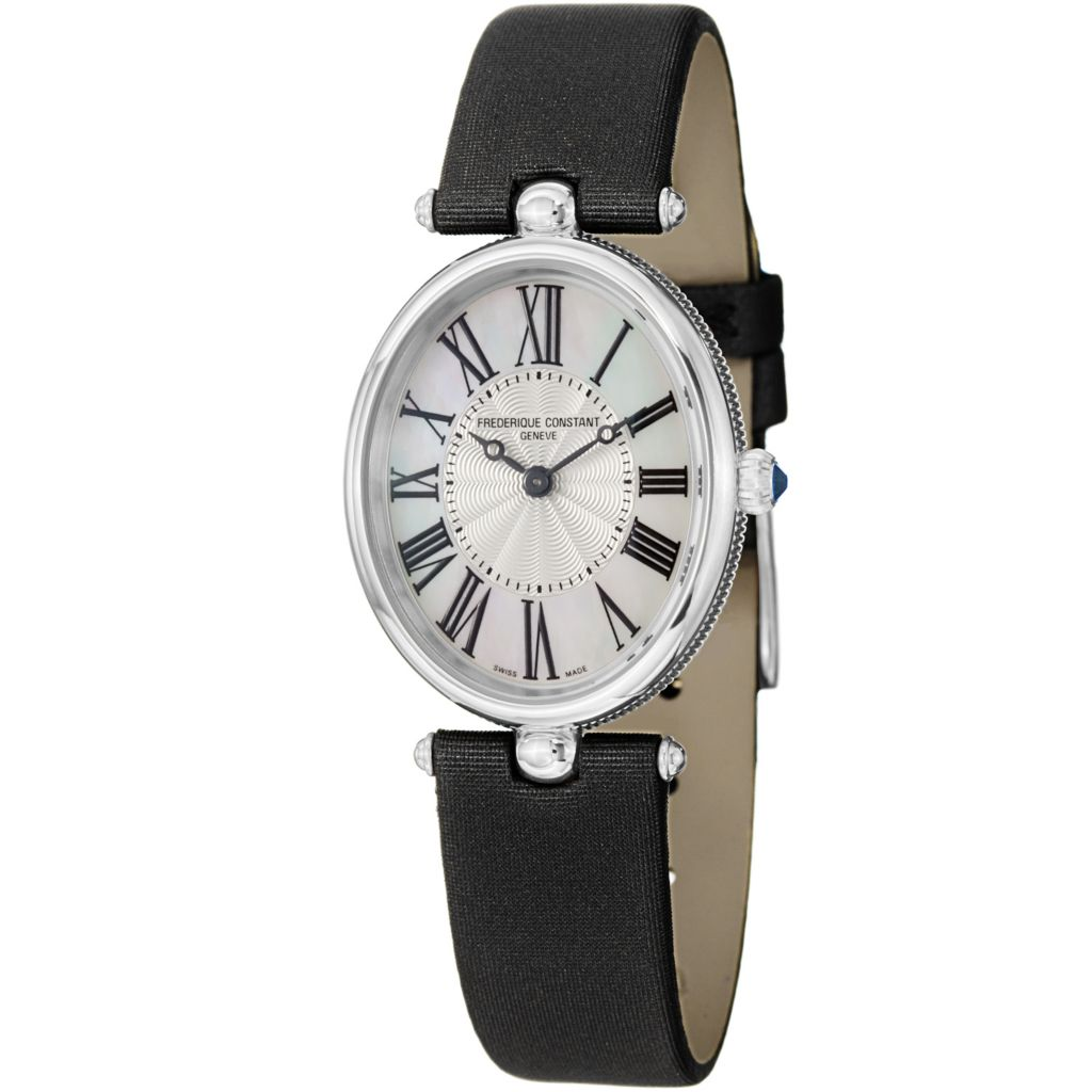 626-025 - Frederique Constant Women's Art Deco Swiss Quartz Satin & Leather Strap Watch