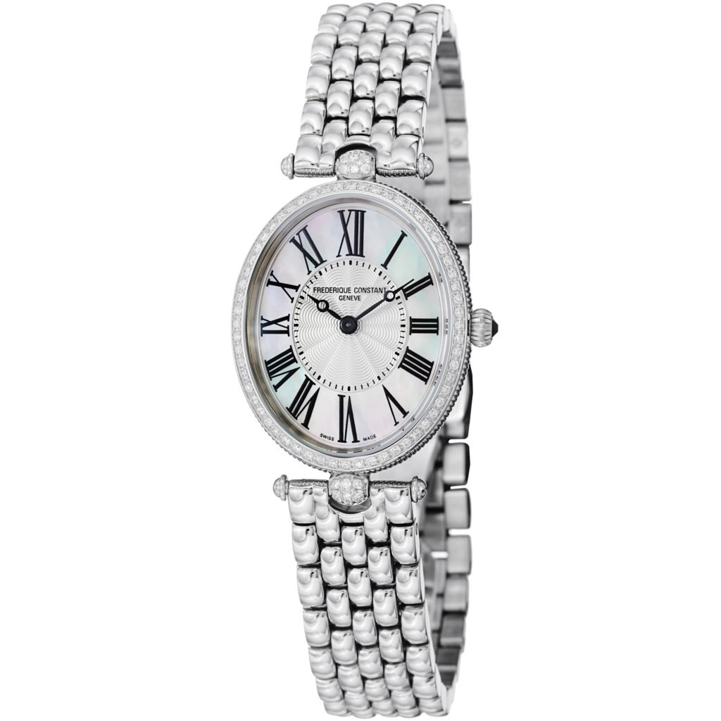 626-026 - Frederique Constant Women's Art Deco Swiss Quartz Diamond Accented Bezel Bracelet Watch