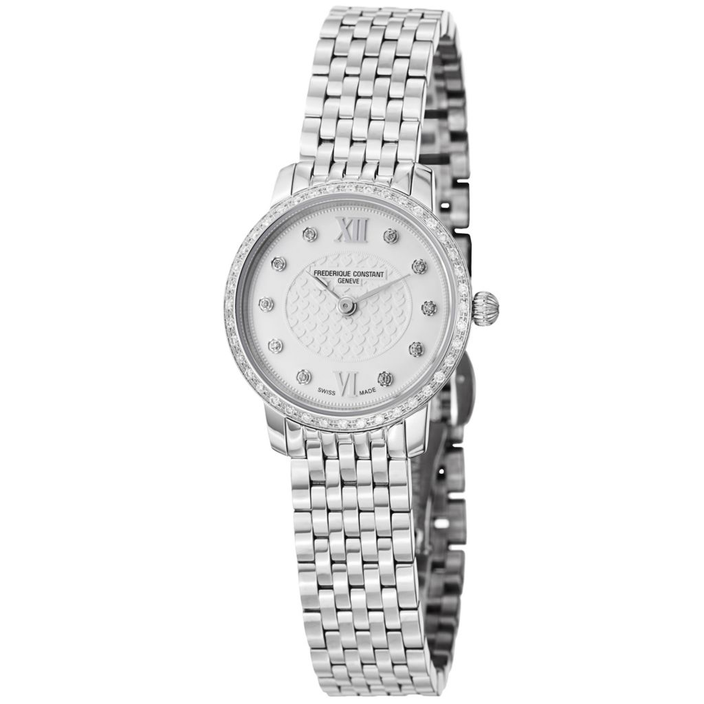 626-027 - Frederique Constant Women's Slim Line Swiss Quartz Diamond Accented Bezel Bracelet Watch