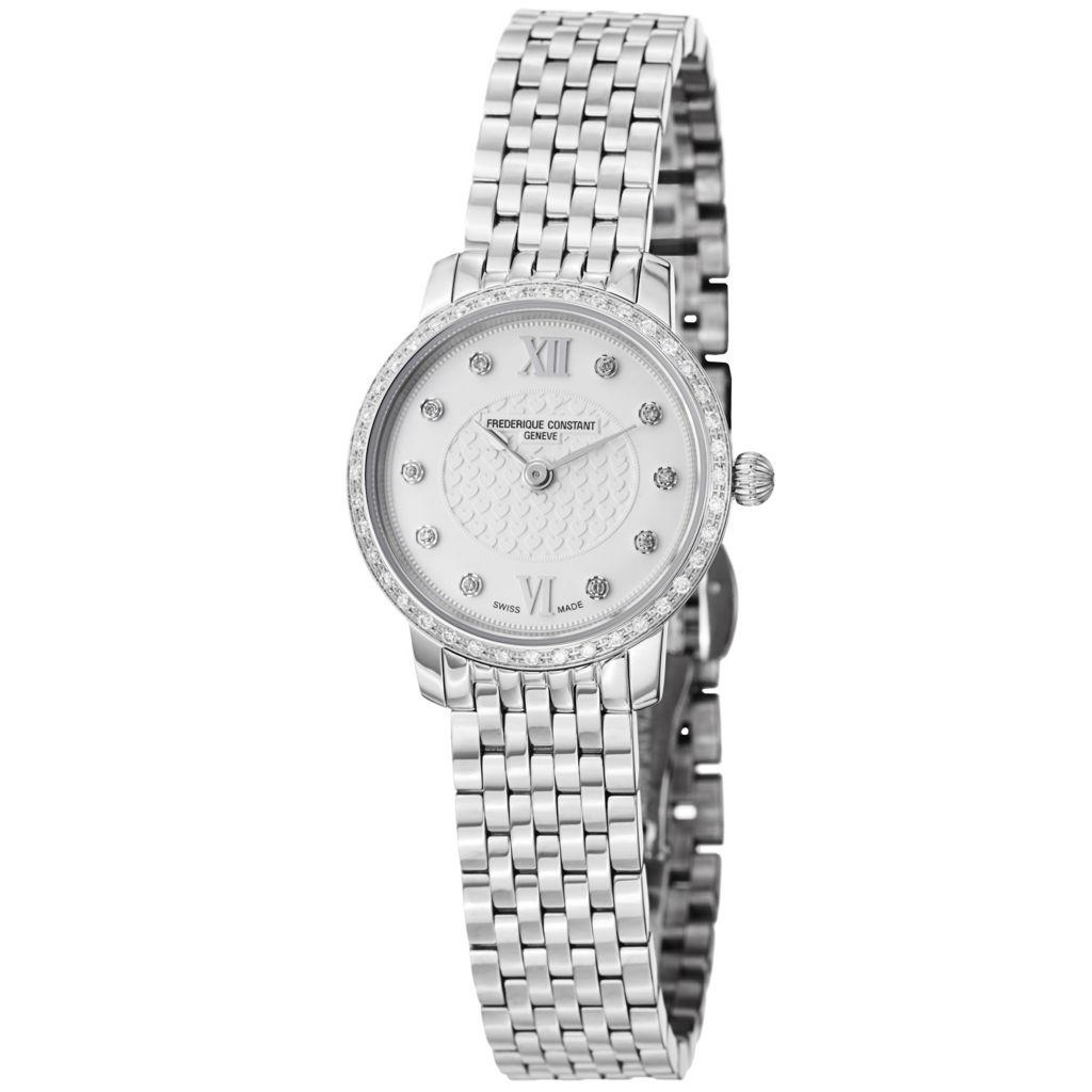 626-027 - Frederique Constant Women's Slim Line Swiss Quartz Diamond Accented Bezel Bracelet Watch