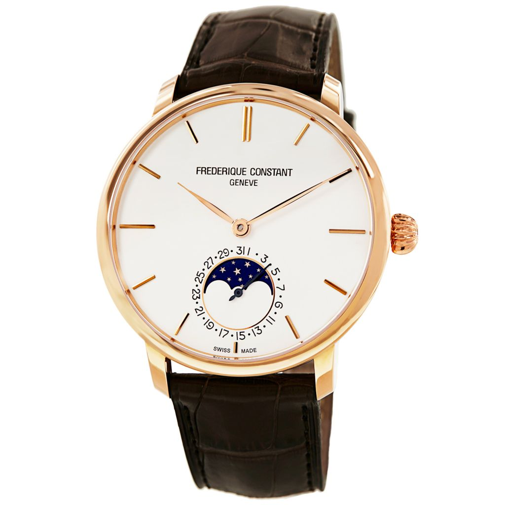 626-029 - Frederique Constant 42mm Slim Line Automatic 18K Rose Gold Case Moon Phase Leather Strap Watch