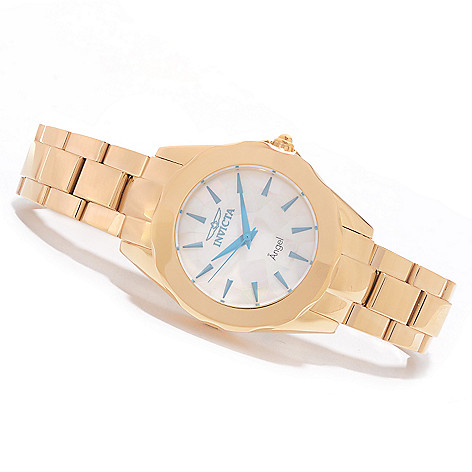 626-037 - Invicta Women's Angel Quartz Mother-of-Pearl Mosaic Dial Bracelet Watch