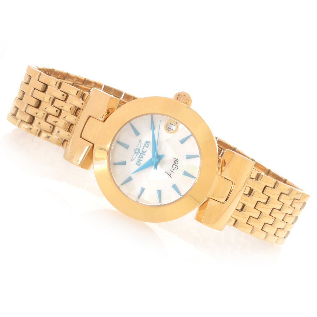 626-038 - Invicta Women's Angel Quartz Mother-of-Pearl Stainless Steel Bracelet Watch
