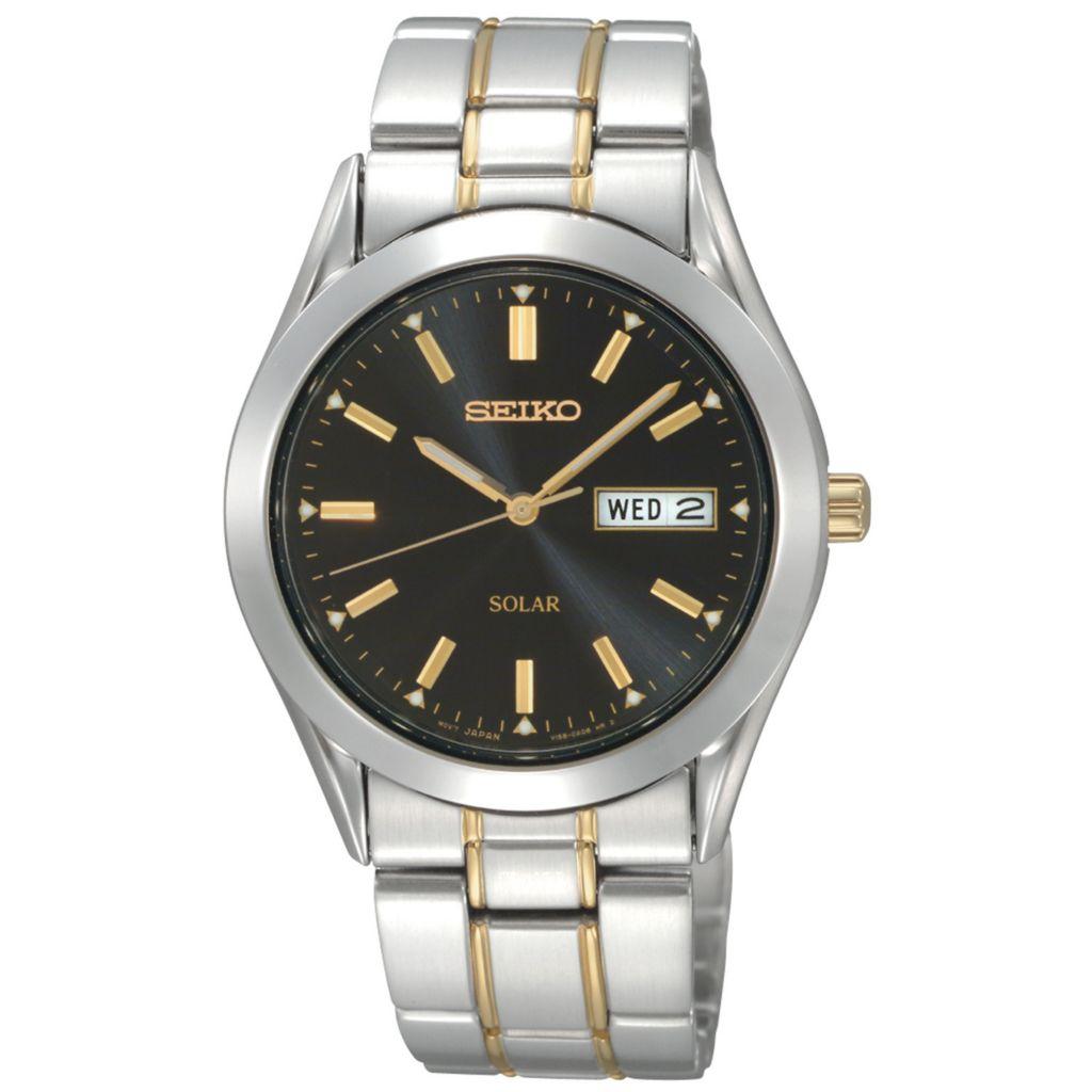 626-041 - Seiko 37.5mm Core Solar Quartz Day & Date Black Dial Two-tone Stainless Steel Bracelet Watch