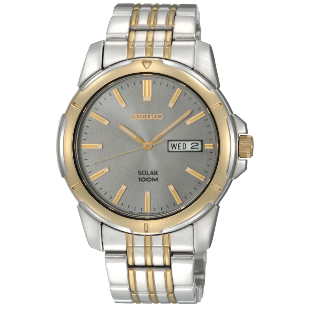 626-042 - Seiko 39mm Core Solar Quartz Day & Date Stainless Steel Bracelet Watch