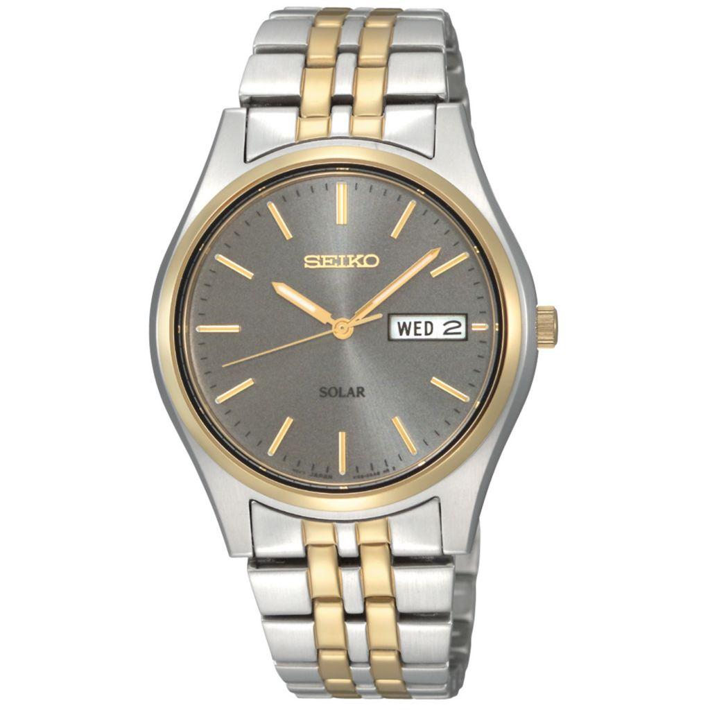 626-043 - Seiko 37mm Core Solar Quartz Day & Date Two-tone Stainless Steel Bracelet Watch