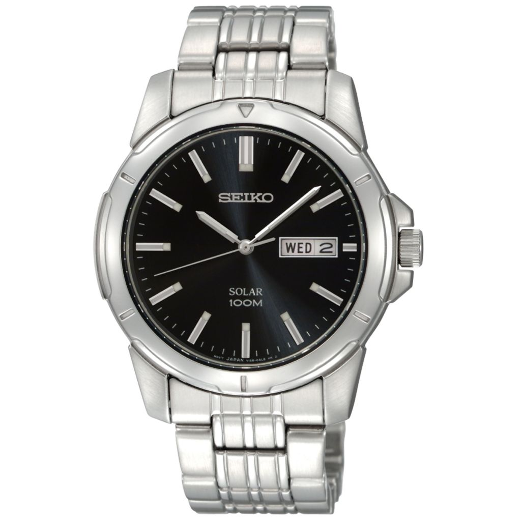 626-045 - Seiko 39mm Core Solar Quartz Day & Date Black Dial Silver-tone Stainless Steel Bracelet Watch