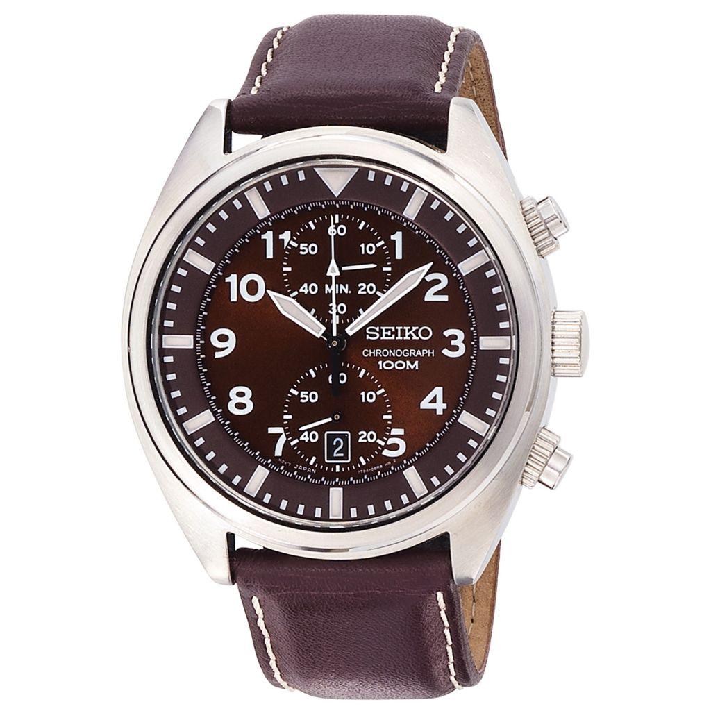 626-051 - Seiko 42.5mm Core Quartz Chronograph Brown Dial Brown Leather Strap Watch
